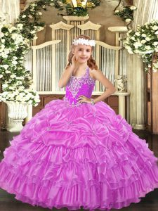 V-neck Sleeveless Pageant Dress Toddler Floor Length Beading and Ruffled Layers and Pick Ups Lilac Organza