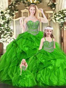 Green Sleeveless Organza Lace Up Sweet 16 Dress for Military Ball and Sweet 16 and Quinceanera