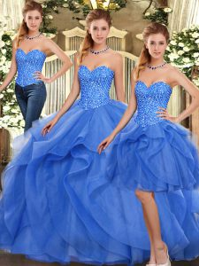 Gorgeous Blue Two Pieces Ruffles Ball Gown Prom Dress Lace Up Organza Sleeveless Floor Length