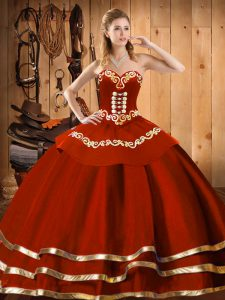 Adorable Sleeveless Lace Up Floor Length Embroidery 15 Quinceanera Dress
