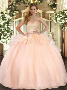 Sleeveless Organza Floor Length Lace Up Sweet 16 Dresses in Peach with Beading and Ruffles