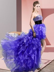 Purple Prom and Party with Beading and Ruffles Sweetheart Sleeveless Lace Up