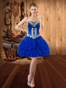 Superior Royal Blue Sweetheart Neckline Embroidery and Ruffles Sleeveless Lace Up