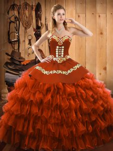 Customized Rust Red Sleeveless Satin and Organza Lace Up Sweet 16 Quinceanera Dress for Military Ball and Sweet 16 and Quinceanera