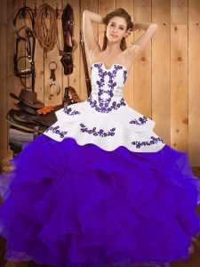 Lovely Sleeveless Floor Length Embroidery and Ruffles Lace Up Quinceanera Gown with White And Purple