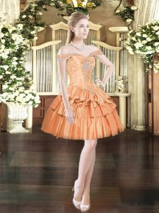 Orange Red Sleeveless Mini Length Beading and Ruffled Layers Lace Up Prom Party Dress