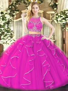 Designer Fuchsia Ball Gowns Organza Scoop Sleeveless Ruffles Floor Length Zipper Vestidos de Quinceanera