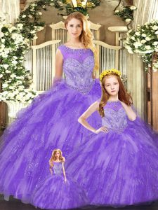 Romantic Floor Length Ball Gowns Sleeveless Eggplant Purple 15th Birthday Dress Lace Up
