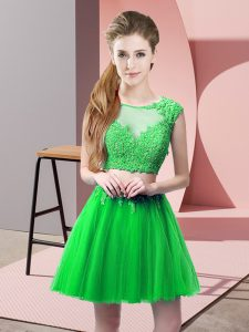 Best Selling Green Two Pieces Scoop Sleeveless Tulle Mini Length Zipper Appliques Prom Dress