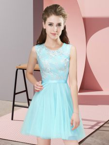 Customized Aqua Blue Sleeveless Tulle Side Zipper Dama Dress for Quinceanera for Prom and Party and Wedding Party