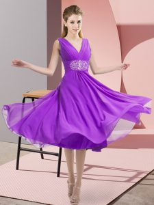 Chiffon Sleeveless Knee Length Quinceanera Court Dresses and Beading