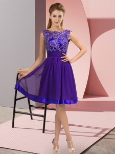 Fancy Purple Sleeveless Chiffon Backless for Prom and Party