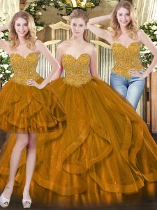 Extravagant Brown Tulle Lace Up Sweetheart Sleeveless Floor Length Quinceanera Gowns Beading and Ruffles