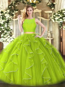 Customized Sleeveless Organza Floor Length Zipper Quince Ball Gowns in Yellow Green with Lace and Ruffles