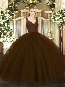 Eye-catching Tulle and Sequined V-neck Sleeveless Zipper Beading Vestidos de Quinceanera in Brown