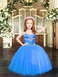 Enchanting Spaghetti Straps Sleeveless Pageant Dress Toddler High Low Beading Blue Tulle