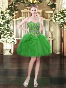 Fashion Green Lace Up Sweetheart Beading and Ruffles Prom Gown Tulle Sleeveless