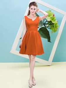 Custom Fit Mini Length A-line Sleeveless Orange Red Dama Dress Zipper