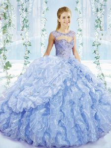 Sleeveless Brush Train Beading and Ruffles and Pick Ups Lace Up Ball Gown Prom Dress