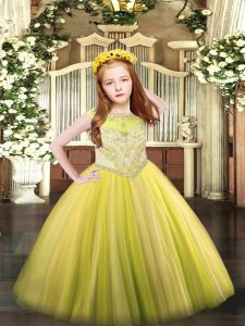 Scoop Sleeveless Tulle Pageant Dress for Teens Beading Zipper