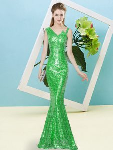 Green Mermaid Asymmetric Sleeveless Sequined Floor Length Zipper Sequins