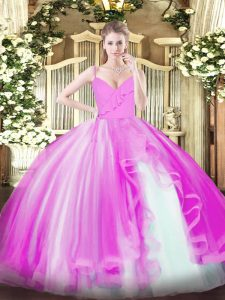 Luxury Spaghetti Straps Sleeveless Tulle 15 Quinceanera Dress Ruffles Zipper