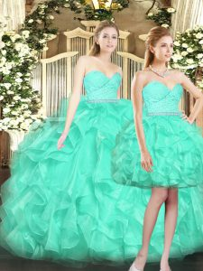 Shawl Sleeveless Ruffles Lace Up Sweet 16 Dresses