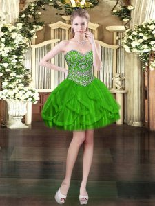 Sweet Green Prom Evening Gown Prom and Party with Beading and Ruffles Sweetheart Sleeveless Lace Up