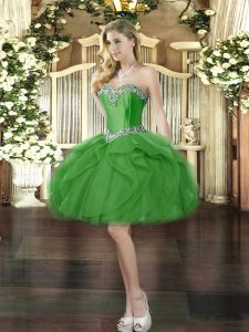 Sweet Sleeveless Lace Up Mini Length Beading and Ruffles Dress for Prom