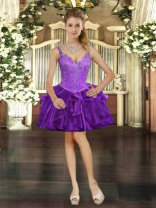 Dazzling V-neck Sleeveless Prom Dress Mini Length Beading and Ruffles Purple Organza