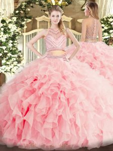 Enchanting Baby Pink Two Pieces Beading and Ruffles 15th Birthday Dress Zipper Tulle Sleeveless Floor Length