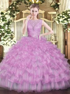 Customized Lilac Sleeveless Beading and Ruffled Layers Floor Length 15 Quinceanera Dress