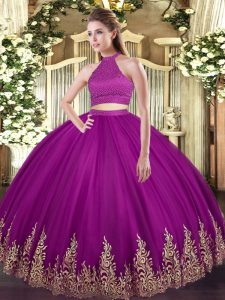 Glorious Halter Top Sleeveless Tulle Quinceanera Dresses Beading and Appliques Backless