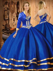 Blue Quinceanera Gown Military Ball and Sweet 16 and Quinceanera with Embroidery Sweetheart Sleeveless Lace Up