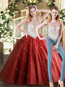 Vintage Wine Red Two Pieces Beading Quinceanera Dresses Zipper Tulle Sleeveless Floor Length