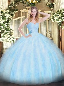 Light Blue Sweetheart Neckline Beading and Ruffles 15 Quinceanera Dress Sleeveless Lace Up