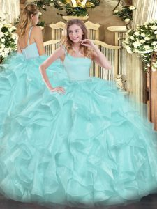 Ball Gowns Ball Gown Prom Dress Aqua Blue Straps Organza Sleeveless Floor Length Zipper