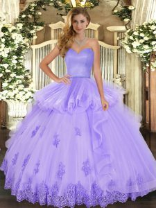 Custom Designed Floor Length Lavender Ball Gown Prom Dress Tulle Sleeveless Beading and Appliques and Ruffles