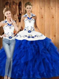Superior Blue And White Satin and Organza Lace Up Halter Top Sleeveless Floor Length Vestidos de Quinceanera Embroidery and Ruffles
