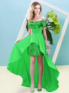 Off The Shoulder Short Sleeves Elastic Woven Satin and Sequined Prom Party Dress Beading Lace Up