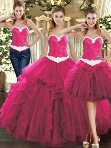 Fuchsia Ball Gowns Ruffles Quinceanera Dresses Lace Up Tulle Sleeveless Floor Length