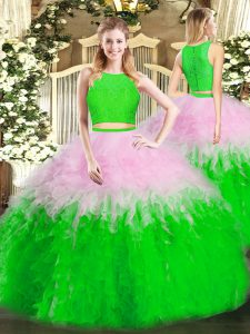 Beautiful Tulle Scoop Sleeveless Zipper Ruffles 15 Quinceanera Dress in Multi-color
