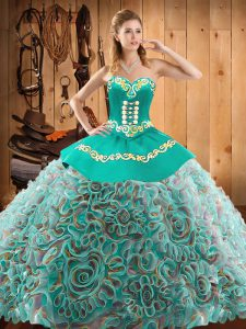Multi-color Sleeveless Satin and Fabric With Rolling Flowers Brush Train Lace Up Quinceanera Gown for Military Ball and Sweet 16 and Quinceanera