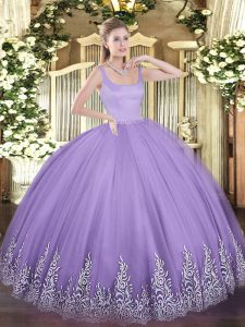 Clearance Lavender 15 Quinceanera Dress Military Ball and Sweet 16 and Quinceanera with Appliques Straps Sleeveless Zipper