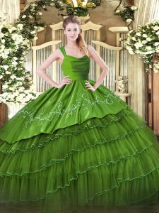 Dynamic Olive Green Organza and Taffeta Zipper Straps Sleeveless Floor Length Sweet 16 Quinceanera Dress Embroidery and Ruffled Layers