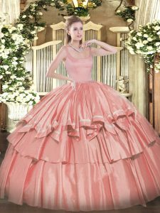 Coral Red Sleeveless Beading and Ruffled Layers Floor Length Quinceanera Dresses
