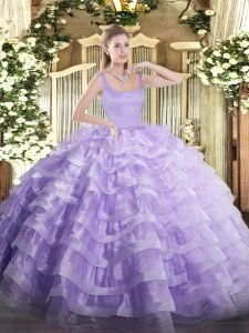 Floor Length Zipper Sweet 16 Dress Lavender for Military Ball and Sweet 16 and Quinceanera with Beading and Ruffled Layers