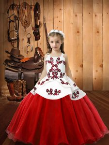 Custom Design Embroidery Little Girl Pageant Dress White And Red Lace Up Sleeveless Floor Length