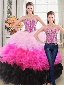 Delicate Sleeveless Organza Floor Length Lace Up Quinceanera Dresses in Multi-color with Beading and Ruffles