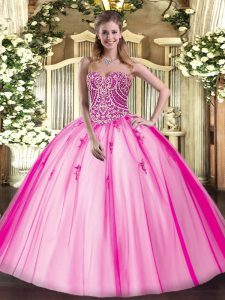Hot Pink Sleeveless Tulle Lace Up Quinceanera Gowns for Military Ball and Sweet 16 and Quinceanera
